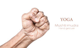 Yoga Mushti mudra. Hand in Mushti mudra by Indian man isolated at white background. Free space for your text Royalty Free Stock Image