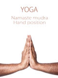 Yoga Namaste prayer mudra. Hands in Namaste prayer mudra by Indian man isolated at white background. Free space for your text stock photography