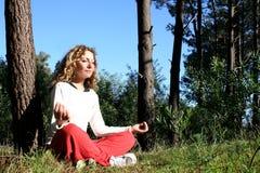 Yoga in nature stock photo