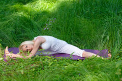 Yoga in nature Stock Photos