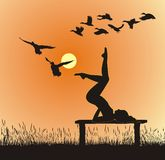 Yoga in Nature, vector illustration. Vector silhouette of women on the bench yoga instructor Royalty Free Stock Photos