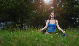 Yoga on the nature Stock Photography
