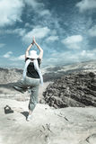 Yoga nel deserto Immagini Stock Libere da Diritti