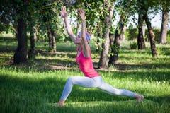Yoga nel parco, all'aperto, salute del ` s delle donne, donna di yoga Il concetto dello stile di vita e della ricreazione sani gi Fotografia Stock Libera da Diritti