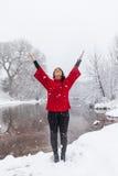 Yoga nella neve di inverno Immagini Stock Libere da Diritti