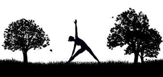 Yoga o Pilates nella siluetta del parco Fotografie Stock Libere da Diritti