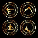 Yoga o siluetta della ginnasta Fotografie Stock