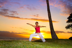 Yoga by the Ocean. Yoga woman poses at sunset royalty free stock image