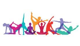 Yoga och gymnastiskt poserar royaltyfri illustrationer