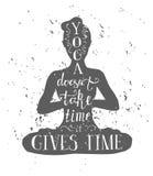 Yoga och meditation för illustration för vektorhandbokstäver Royaltyfri Foto