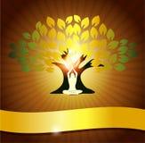 Yoga och tree royaltyfri illustrationer