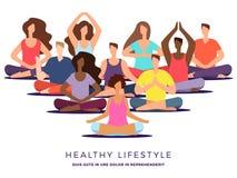 Yoga- oder pilatesklassenvektorillustration Meditationsfrau und -mann vektor abbildung