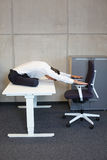 Yoga in office. Stock Photo