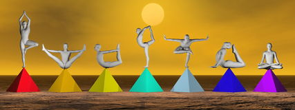 Yoga On Chakra Pyramids - 3D Render Royalty Free Stock Image