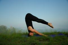 Yoga op de aard Stock Foto