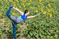 Yoga op Gebied van Zonnebloemen Royalty-vrije Stock Foto's