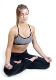 Yoga op wit Stock Afbeeldingen