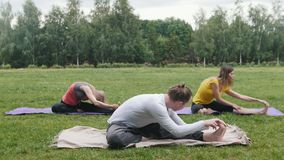 Yoga opleiding buiten in park - flexibiliteit stock footage