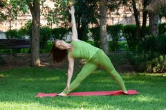 Yoga outdoor. Happy woman doing yoga exercises, meditate in the park. Pretty woman practicing yoga on the grass stock photo