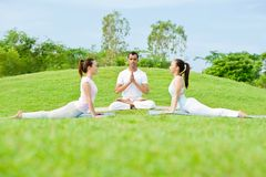 Yoga outdoors Stock Images