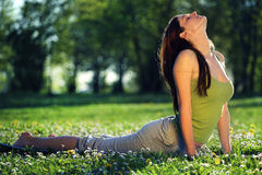 Yoga outdoors Royalty Free Stock Images