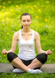 Yoga outdoors Royalty Free Stock Image
