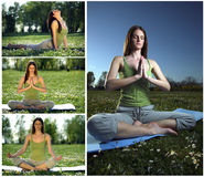 Yoga outdoors collage. Young women practicing yoga in the outdoor Stock Photos
