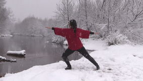 Yoga Outdoors in Winter stock video footage