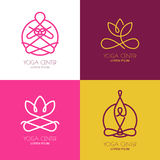 Yoga outline logo design elements. Set of vector yoga icons and Royalty Free Stock Photography