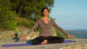 Yoga outside stock video footage