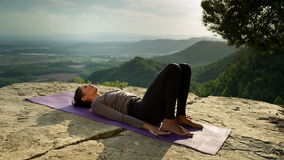 Yoga outside stock footage