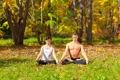 Yoga padmasana pose Royalty Free Stock Image