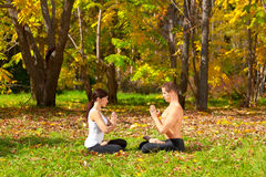 Yoga padmasana pose Royalty Free Stock Photography