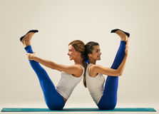 Yoga in pair. Balance. figure w Stock Image