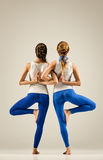Yoga in pair. balance stock image