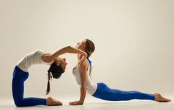Yoga in pair. bends. cobra. seated stock images