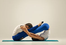 yoga in pair buddy boat pose balance stock image  image