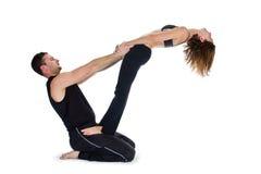 Yoga para dos - serie imagen de archivo libre de regalías