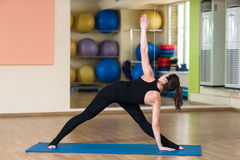 Yoga Parivrtta Trikonasana, Revolved Triangle Pose Stock Photography