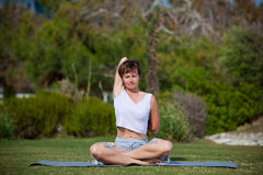 Yoga in park Royalty Free Stock Photography