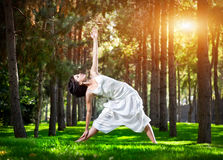 Yoga in the park royalty free stock photography