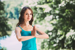 Yoga in park. Royalty Free Stock Images