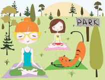 Yoga in park Royalty Free Stock Images