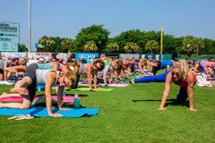 Yoga in the Park, Joseph P. Reilly, Jr. Stadium Royalty Free Stock Images
