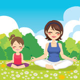 Yoga Park Mother Daughter. Young mother and daughter at park doing yoga exercise vector illustration