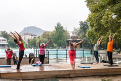 Yoga in a park Royalty Free Stock Image