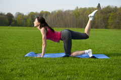 Yoga in the park. Tiger pose Stock Photo