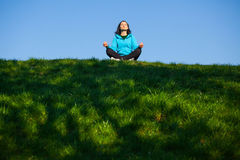 Yoga in the park Royalty Free Stock Image
