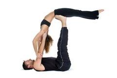 Yoga per due - serie immagine stock