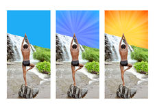 Yoga. A person doing yoga meditation in a beautiful location with three different backgrounds each images have theirs clipping paths Royalty Free Stock Photography